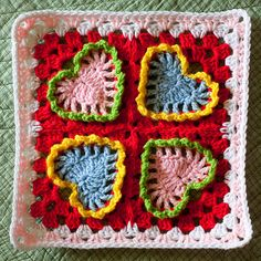 Cheerful Hearts Coast Along Square.... #crochet_inspiration .....