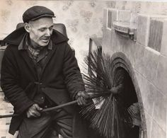 The chimney sweep came once a year and we knew when he was coming as the carpets were rolled up leaving just the Lino trim around the room. When I got married our chimney sweep greeted me at the church door - a kiss from a sweep on your wedding day was considered to bring a bride good luck!