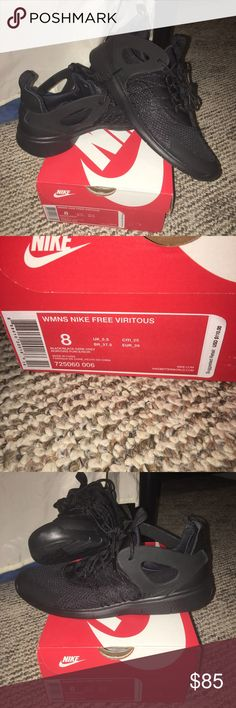 New in box Nike Free Viritous size 8! Comes from a smoke free home! Brand new with tags! Beautiful shoes all black! Nike Shoes Athletic Shoes
