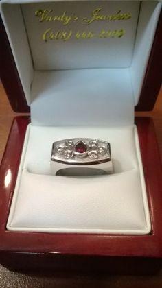 Custom men's ruby & diamond ring using the customer's stones.