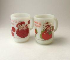 Strawberry Shortcake & Raspberry Tart Milk Glass Mugs, Anchor Hocking Milk Glass Mug, Strawberry Shortcake Mug, Raspberry Tart Mug by EastWestVintage1 on Etsy