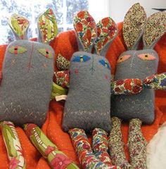bunny softies out of woollen blanket