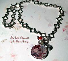 The Celtic Mermaid- handmade, resin, pendant necklace by FireSpirit Designs on Etsy, $36.00