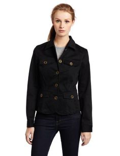 JNY Sport Women's Long Sleeve Button Front Jacket, Black, Medium JNY Sport. $46.60. Button front. Made in China. Machine Wash. Military style. 98% Cotton/2% Spandex. Save 57% Off!