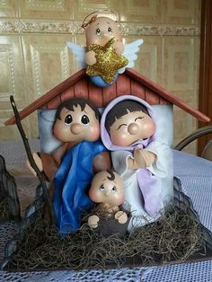 Eva. Christmas Clay, Christmas Nativity Scene, Christmas Angels, All Things Christmas, Christmas Ornaments, Coloring Book Art, Clay Baby, Sewing Dolls, Foam Crafts