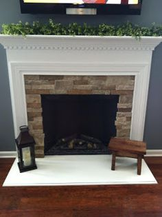 Air Stone Fireplace With Slate Mixed Autumn Mountain And