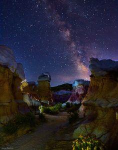 Milky Way above Paint Mines Interpretive Park. Calhan, Colorado, USA