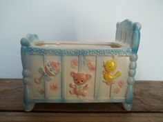 Vintage Baby Planter Shabby Nursery Pink and Blue by JunkyardElves, $12.00