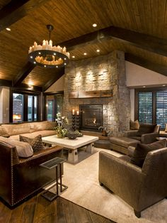 Family Room Design, beautiful ceiling and fireplace....