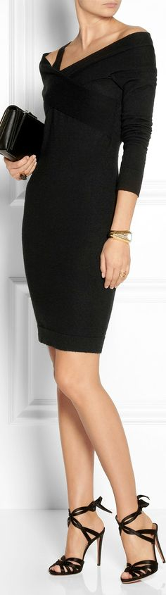 Donna Karan ● Twist-front cashmere dress