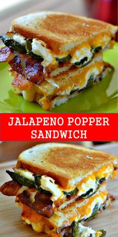 Your family's favorite food and drink ! JALAPENO POPPER SANDWICH Jalapeno Popper Grilled Cheese is a delectable combination of baked cream cheese filled jalapenos, gooey cheddar, Monterey Jack cheese, and crispy bacon. Argula Recipes, Coliflower Recipes, Grilled Cheese Recipes, Cheese Ball Recipes, Best Grilled Cheese, Jalapeno Recipes, Jalepeno Popper Grilled Cheese, Jalapeno Cream Cheese Bacon, Bacon Sandwich Recipes