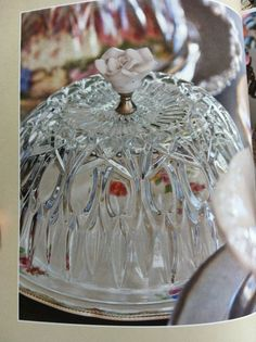 Cheese dome from a glass bowl.  Drill a hole through the glass & screw on the knob.  I think I'd glue it depending on the bowl.  Pic taken from Rediscovered Treasures by Ellen Dyrop & Hanna Kristinsdottir.  #upcycle