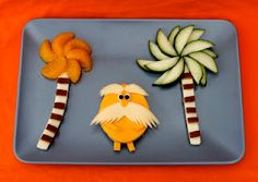 """Cute Food For Kids"" ? Seuss' The Lorax Inspired Food Ideas. absolutely loved the movie, and this idea Edible Crafts, Food Crafts, Edible Art, Cute Snacks, Cute Food, Good Food, Kid Snacks, Preschool Snacks, Kid Activities"