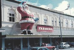 Santa on top of the Farmers Building, think he was on the Armagh Street side facing Victoria Square. Christchurch, New Zealand. Happy Anniversary Clip Art, Gloucester Street, Christchurch New Zealand, Kiwiana, Pre And Post, My Childhood Memories, Before Us, Good Old