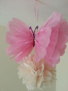 wedding party baby shower butterfly decorations TISSUE PAPER POMPOMS garland in Home, Furniture & DIY, Celebrations & Occasions, Party Supplies Butterfly Baby Shower, Butterfly Party, Butterfly Birthday, Butterfly Decorations, Butterfly Crafts, Baby Shower Decorations, Tissue Paper Flowers, Paper Poms, 1st Birthday Parties