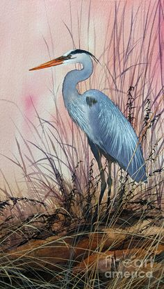 Heron Painting - Herons Evening Shore by James Williamson
