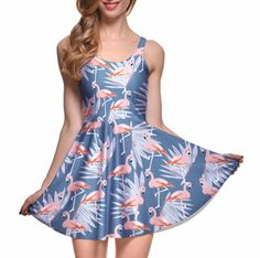 Description Sizing This super cute skater dress features a flamingo and palm leaf print on a dusty blue background! The color combination is so pretty and flattering on all skin tones! Cute Skater Dresses, Sexy Summer Dresses, Pretty Dresses, Girls Dresses, Summer Outfits, Cute Plus Size Clothes, Plus Size Dresses, Dresser, Clothes For Women