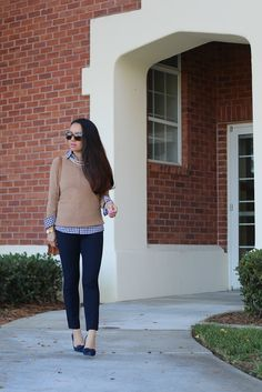 Camel Cashmere Sweater, Petite Gingham Shirt, Navy Sloan Ankle Pants