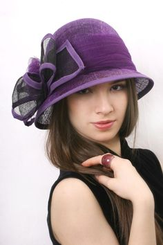 f6964e4735d Purple derby hat Cloche Hat Wedding hat Big bow hat Hats For Women