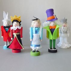 Alice in Wonderland Nutcrackers (White Rabbit, Red Queen, Alice, Mad Hatter, White Queen)