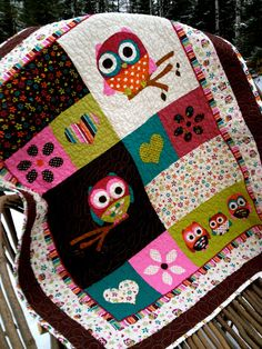 Hoot The Owl Baby or Toddler Quilt by TrendMakerDesigns on Etsy, $66.00