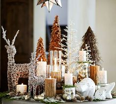 Metallic Snowflake Pillar Candles | Pottery Barn