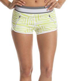 Look at this #zulilyfind! Green & White Geometric Running Shorts by Colosseum #zulilyfinds