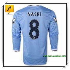 Manchester City NASRI LS Home Blue 2013 2014 Football Water Girl Shirts 06cdd6b71