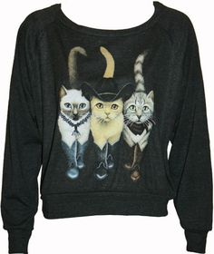 """Hipster Cats in Boots Pullover Slouchy """"Sweatshirt"""" Top American Apparel Black S, M, or L on Etsy, $29.50"""