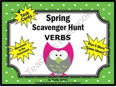 Spring Verbs Language Arts Task Cards plus Game Ideas! - Spring: Here are 30 tasks cards with sentences related to spring. Students will read each sentence and identify the verb(s). A student response form and answer key are also provided.There are so many uses for these spring task cards, including: learning centers, group work, board games, SCOOT, SCATTER, small group work, differentiated instruction, and more!.  A GIVEAWAY promotion for Spring Verbs Task Cards Scavenger Hunt Game Parts of ...