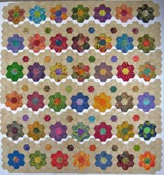 Hexagon quilt, using Inklingo and freezer paper. Interesting, but there is something still so fulfilling for me in doing it by hand.