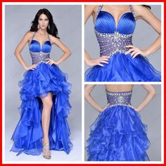 Sexy See Through Corset long Ruffles Short Front Long Back Prom Dresses