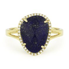 3.19 ct Fancy Checkerboard Blue Lapis & Round Cut Diamond Halo Right-Hand Ring in 14k Yellow Gold - AlfredAndVincent.com