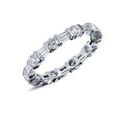 laetitia alliance en or blanc sertie de diamants taille baguette et rond en alternance