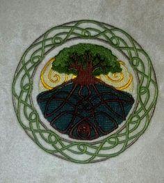 Tree of life on cream suede.