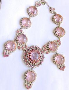Pink Czech Statement Necklace Lilien Czech by CrimsonVintique, $295.00