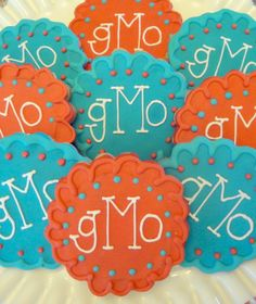 Monogram Decorated Sugar Cookies Baby Shower Bridal Shower Birthday Party Favors. $17.00, via Etsy.