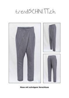 Die Hose mit schrägem Verschluss sitzt locker um die Hüfte und schmal an der Wade. Durch den speziellen Verschluss erhält die Hose einen legeren Touch. Als Material eignet sich Seide, die einen...