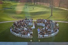 We adore the way this wedding was set up!  EVERYONE in the house got a great seat! Photography by: Intrigue Studio  www.Intrigue-Photography.com