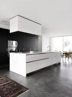 Boffi kitchen + beton & Zettlel Z lamp Beton Design, Küchen Design, Floor Design, Interior Design, Design Ideas, Grey Kitchen Floor, Kitchen Flooring, Kitchen Modern, Kitchen White