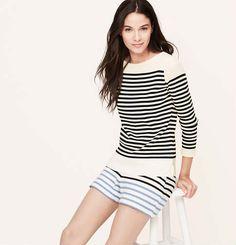 Petite Striped Boatneck Sweater   Loft