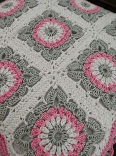Willow crochet motif blanket, pink, gray, white.