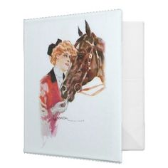 Binder - Vintage Office Decor  For the horse lover. A beautiful vintage illustration of a woman who obviously adores her gorgeous c...
