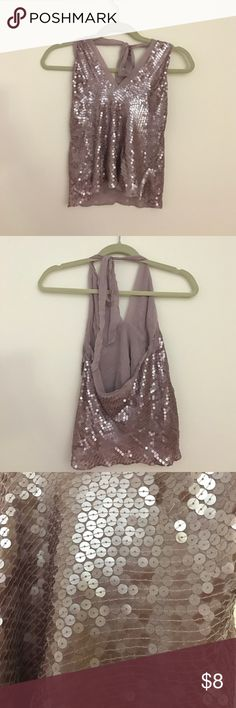 Light Purple Sequined Halter Top Super cute light purple sequined top perfect for a night out! There is a zipper on the side! Fits like a small. Tops