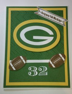 Packers football birthday using the Stampin' Up! Great Sport stamp set. Handmade by Emily Mark SU demo Montreal www.emilymark.ca