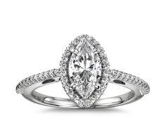 marquise cut diamond halo setting