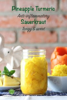 Pineapple Turmeric Sauerkraut and Gut Shots recipes. A crowd pleasing combination that is tangy, sweet and refreshing, anti-inflammatory and probiotic. Used ginger bug in place of fresh ginger. Left out vinegar and did not heat. Fermentation with no heat. Kombucha, Fermentation Recipes, Canning Recipes, Probiotic Foods, Fermented Foods, Kefir, Ginger Bug, Fresh Ginger, Pickled Ginger