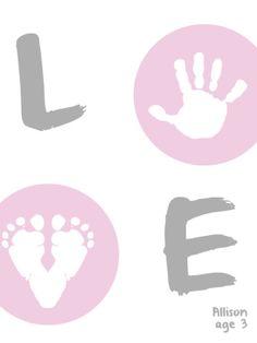 LOVE Handprint #keepsake #DIY #crafts #Art #kids #gifts www.handpressions.com