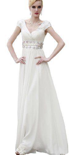 Dapene Woman/Lady White Cap Sleeve Floor Length Formal Vintage Evening Gown, http://www.amazon.com/dp/B00CCXCSL2/ref=cm_sw_r_pi_awdm_hAaktb0MVZ9DN