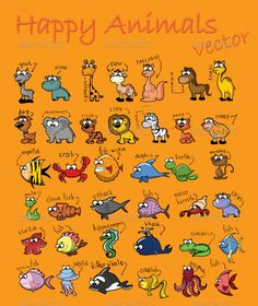 Happy Animals Vector Pack - GraphicRiver Item for Sale